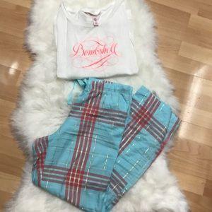 Victoria's Secret Mint Plaid PJ Bombshell Set
